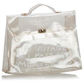 Hermès-Sac à main en vinyle Kelly-Blanc