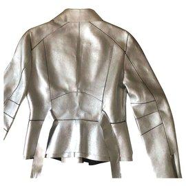 Dsquared2-Veste de motard en cuir-Argenté