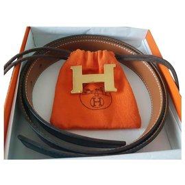 Hermès-Boucle de ceinture H & Cuir de ceinture réversible-Noir