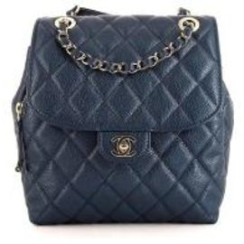 Chanel-Sac à dos en cuir Chanel-Bleu