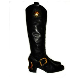 Dolce & Gabbana-DOLCE & GABBANA VINTAGE LEATHER & GOLD BOOTS-Black