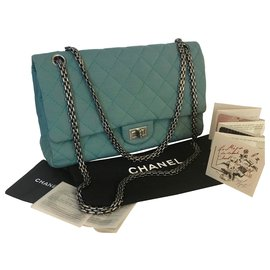 Chanel-2.55 Reissue Jersey 226 Classic Flap-Light green,Turquoise,Dark green
