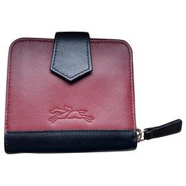 Longchamp-Portefeuille cuir lisse neuf-Bordeaux