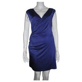 Halston Heritage-Purple dress with rucheting-Purple