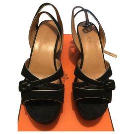 Hermès-Sandales compensées-Noir,Doré