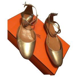 Hermès-Ballerines-Doré