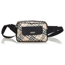 Burberry-Plaid Canvas Belt Bag-Brown,Multiple colors,Beige