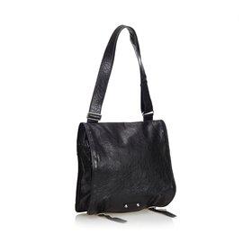 Balenciaga-Leather Shoulder Bag-Black