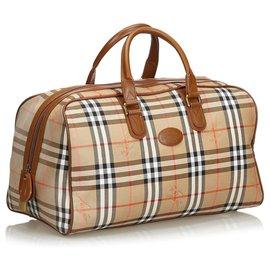 Burberry-Plaid Jacquard Travel Bag-Brown,Multiple colors,Beige
