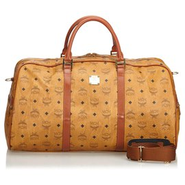 d861633cacff MCM-Visetos Leather Travel Bag-Brown