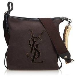 Yves Saint Laurent-Mombasa Canvas Crossbody Bag-Brown,Dark brown
