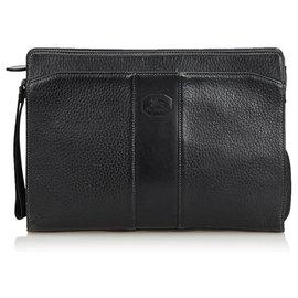 Burberry-Leather Clutch Bag-Black