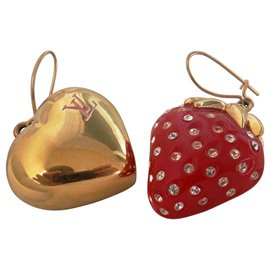 Louis Vuitton-STRAWBERRY / HEART EARRINGS-Doré
