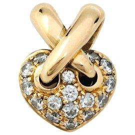"""Chaumet-Pendentif Chaumet, """"Mini Coeur Liens"""", en or jaune et diamants.-Autre"""
