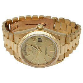 """Rolex-Rolex """"Day-Date"""" Armbanduhr aus Gelbgold mit Präsidentenarmband aus Gelbgold.-Andere"""