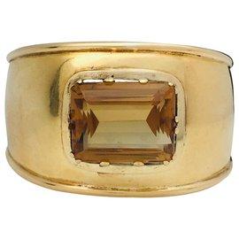 inconnue-Bracelet manchette en or jaune et citrine.-Autre