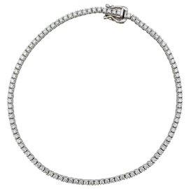 inconnue-Bracelet ligne en or blanc, diamants.-Autre