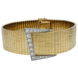 inconnue-Bracelet ceinture deux ors et diamants.-Autre