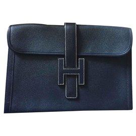 Hermès-Superbe pochette Jige Hermès vintage-Bleu foncé