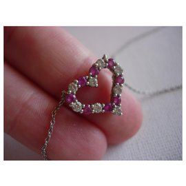 Tiffany & Co-Tiffany Hearts platinum diamonds and pink sapphires.-Silvery,Pink