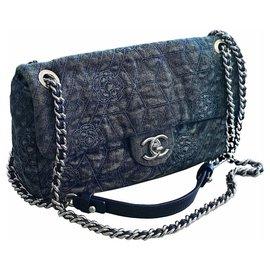 6b7e867b30c Chanel-Sac à bandoulière en denim à bandoulière-Bleu ...