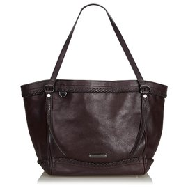 Burberry-Leather Tote Bag-Purple