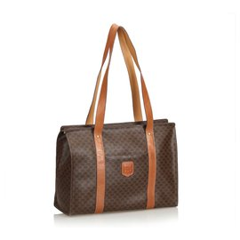 Céline-Macadam Tote Bag-Brown
