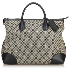 Gucci-Diamante Jacquard Sac De Voyage-Marron,Noir