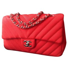 Chanel-Timeless classic flap bag chevron-Red