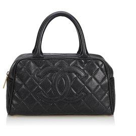 Chanel-Matelasse Caviar Leather Handbag-Black