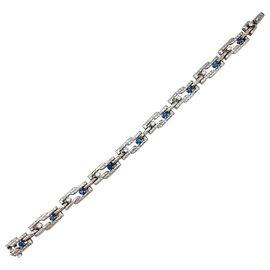 inconnue-Bracelet en or blanc, diamants et saphirs.-Autre