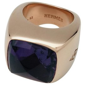 """Hermès-Bague Hermès, """"Tabula"""", or rose, améthyste.-Autre"""