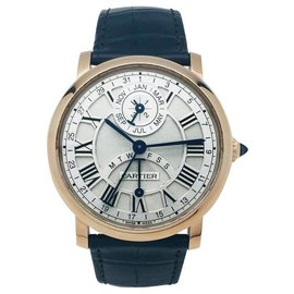 """Cartier-Cartier """"Rotonde"""" Uhr in Rotgold und Leder.-Andere"""