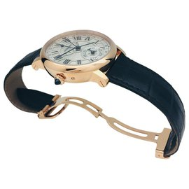 "Cartier-Cartier ""Rotonde"" watch in pink gold and leather.-Other"