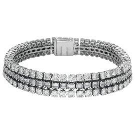 inconnue-Bracelet lignes diamants en or blanc et platine.-Autre