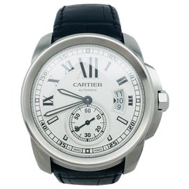 "Cartier-Cartier model watch ""Caliber"" steel on leather. Big model.-Other"
