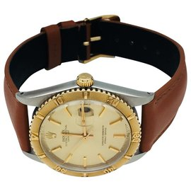 "Rolex-Rolex ""Turn o Graph"" steel watch, yellow gold and leather.-Other"