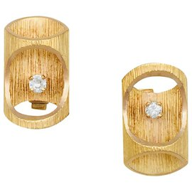 """inconnue-Boutons de manchettes """"bambou"""" en or jaune et diamants, 1970.-Autre"""