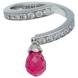 """Chaumet-Bague Chaumet en or blanc,""""Frisson"""", diamants et tourmaline.-Autre"""