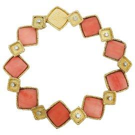 inconnue-Bracelet en or jaune, corail et diamants.-Autre