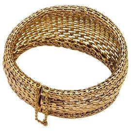 inconnue-Bracelet manchette en or jaune ajouré.-Autre