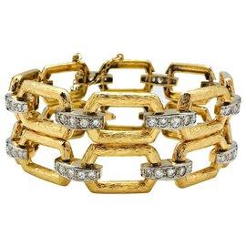 inconnue-Bracelet articulé or jaune et blanc, diamants.-Autre