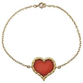 inconnue-Bracelet coeur en or jaune et corail.-Autre