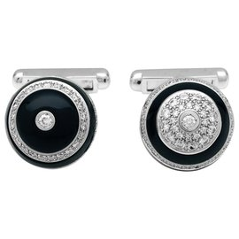 "Chanel-Chanel cufflinks ""1932""in white gold, diamonds and onyx.-Other"