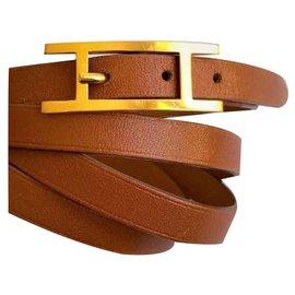 """Hermès-Bracelet Hermès """"Hapi 3""""en Plaqué Or et Cuir de Veau Camel-Marron clair"""