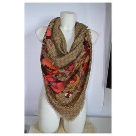 Gucci-gucci scarf new-Beige,Dark red