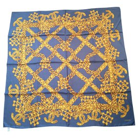 Chanel-Scarf-Blue,Golden