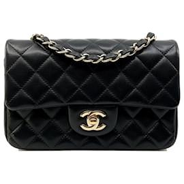 Chanel-Schwarzes kleines Rechteck TIMELESS 20x13, hellgoldene Hardware-Schwarz