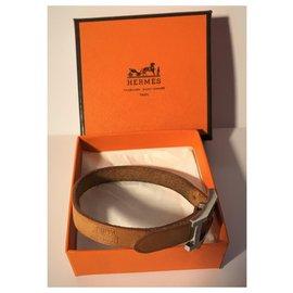 """Hermès-Bracelet Hermès """"Hapi 1""""en Palladium et Cuir de Veau Camel-Marron clair"""
