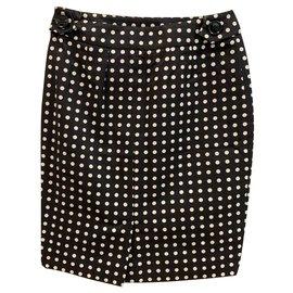 Yves Saint Laurent-Dots cotton skirt-Black